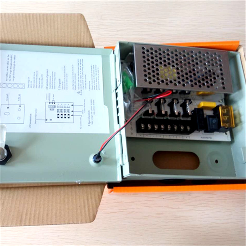 Factory directly sell dc 12v 5a cctv power supply 4ch fuse ac 100-240v with box for ip camera