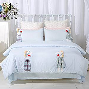HlA Bed Set Minimalist Pure Cotton 4 Piece Children Cartoon Bedding Linen Kit , Blue ,1.8 M