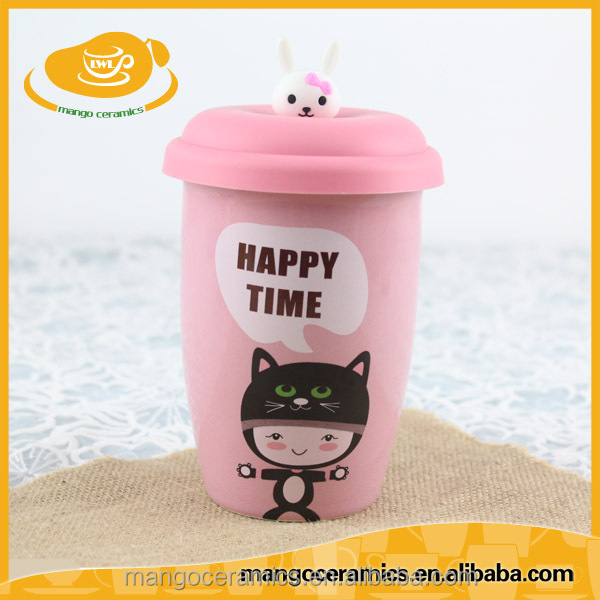 Double wall ceramic mug with silicon lid and cute cartoon figurine on top creative giftware