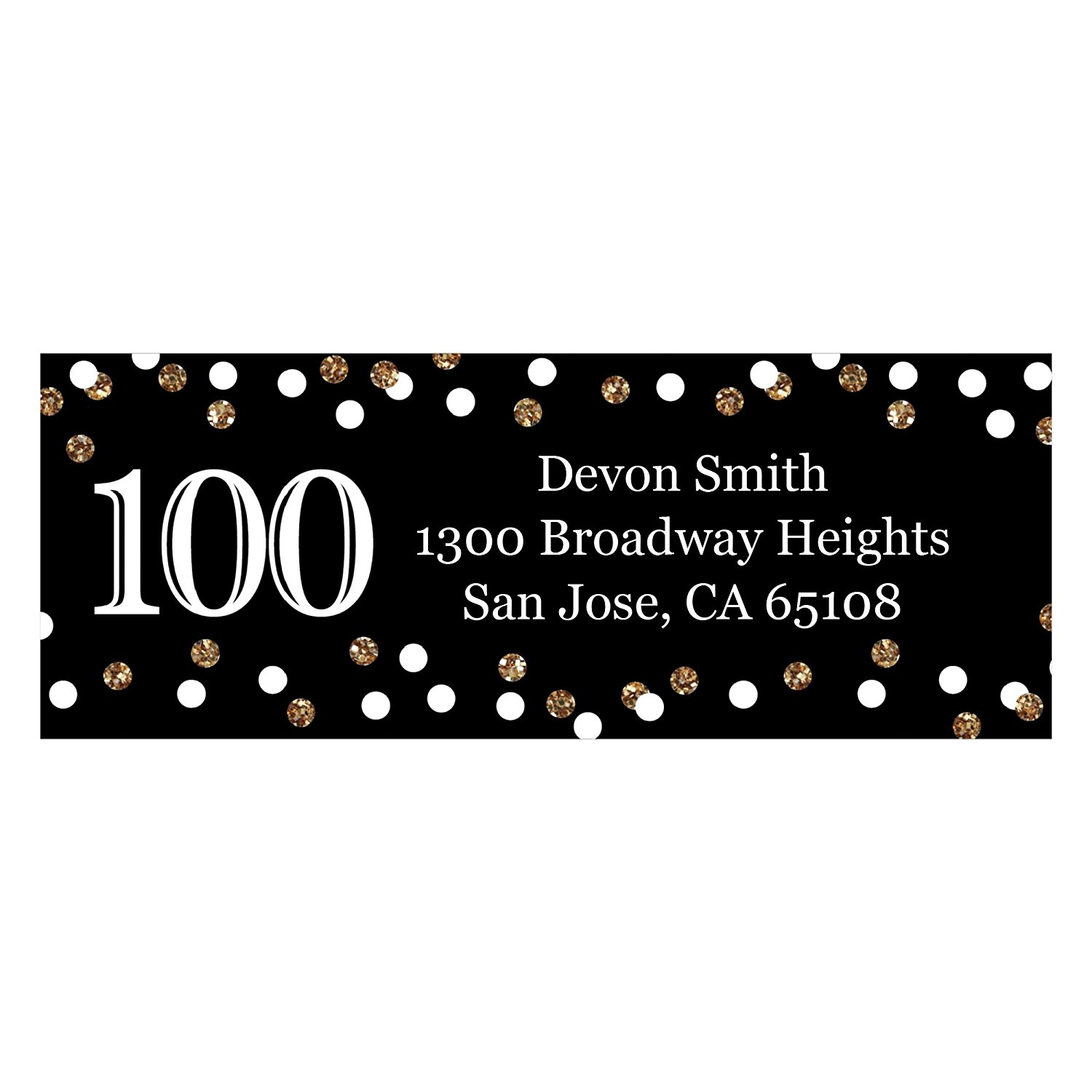Custom Adult 100th Birthday - Gold - Personalized Birthday Party Address Labels - Set of 30