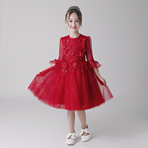 2018 hot new baby girl birthday party dress children frocks designs red lace flower girl dress