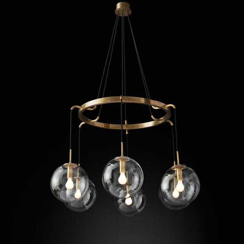 Art Glass Chandelier Lighting Luxury Brass Pendant Light For Dining Room