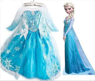 2016 ultime fancy dress baby girl dress elsa congelati elsa principessa per la ragazza FC092