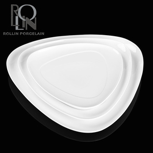 hotel restaurant royal design buffet banquet plate 8, 8.5, 9, 10, 12, 14 inch all size porcelain triangle plates dishes
