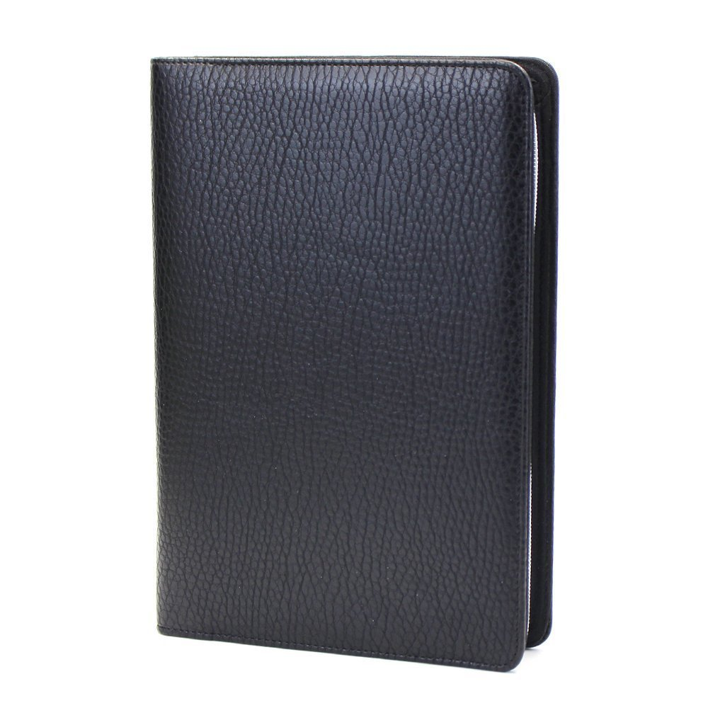 Custom Compendium Black Zipper Closure PU Leather Portfolio A5
