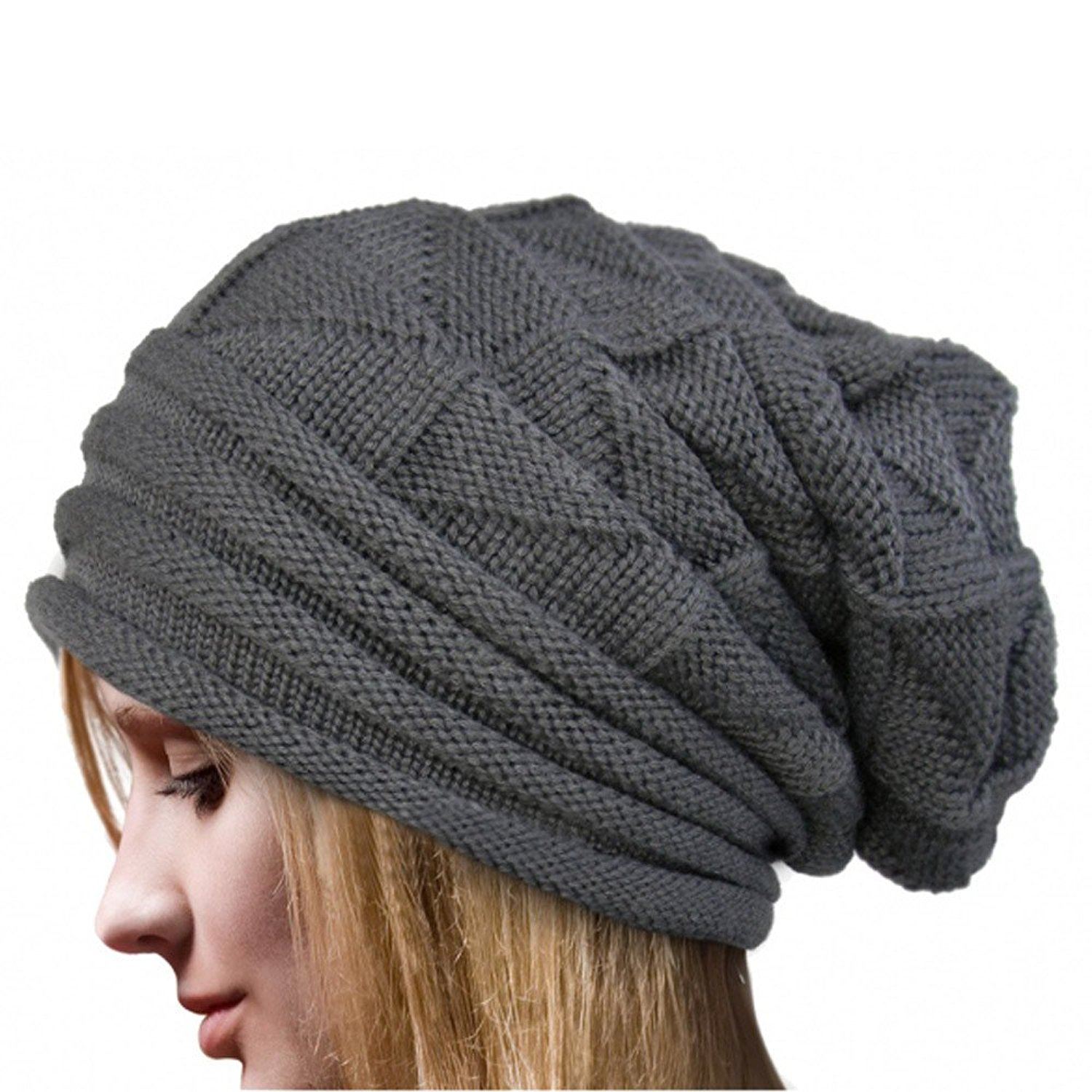 AStorePlus Winter Knit Hat - Unisex Warm Knitted Baggy Beret Hat Oversized Ski Beanie Cap, Coffee, Khaki, Black, Grey, Beige, Red, Dark Grey