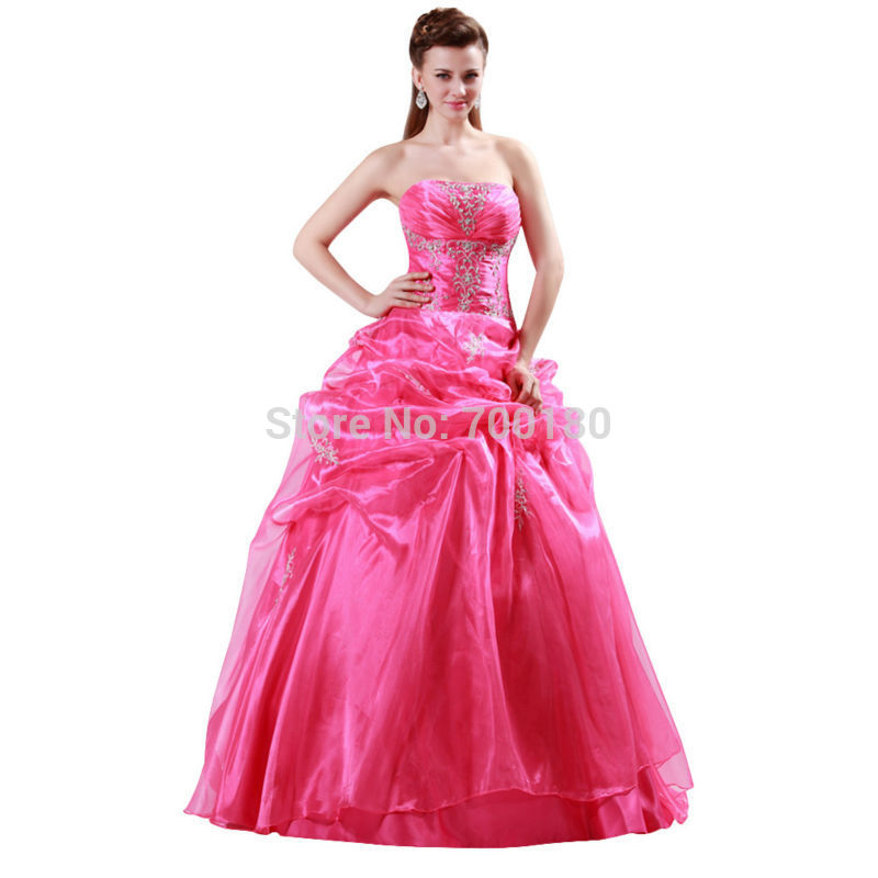 Grace Karin Strapless Lace Back Bridal Bride Wedding Dress Hot Pink Floor-Length Voile Ball Gown Bride Wedding Dress CL4482