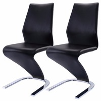 Modern black leather Z shape dining chair