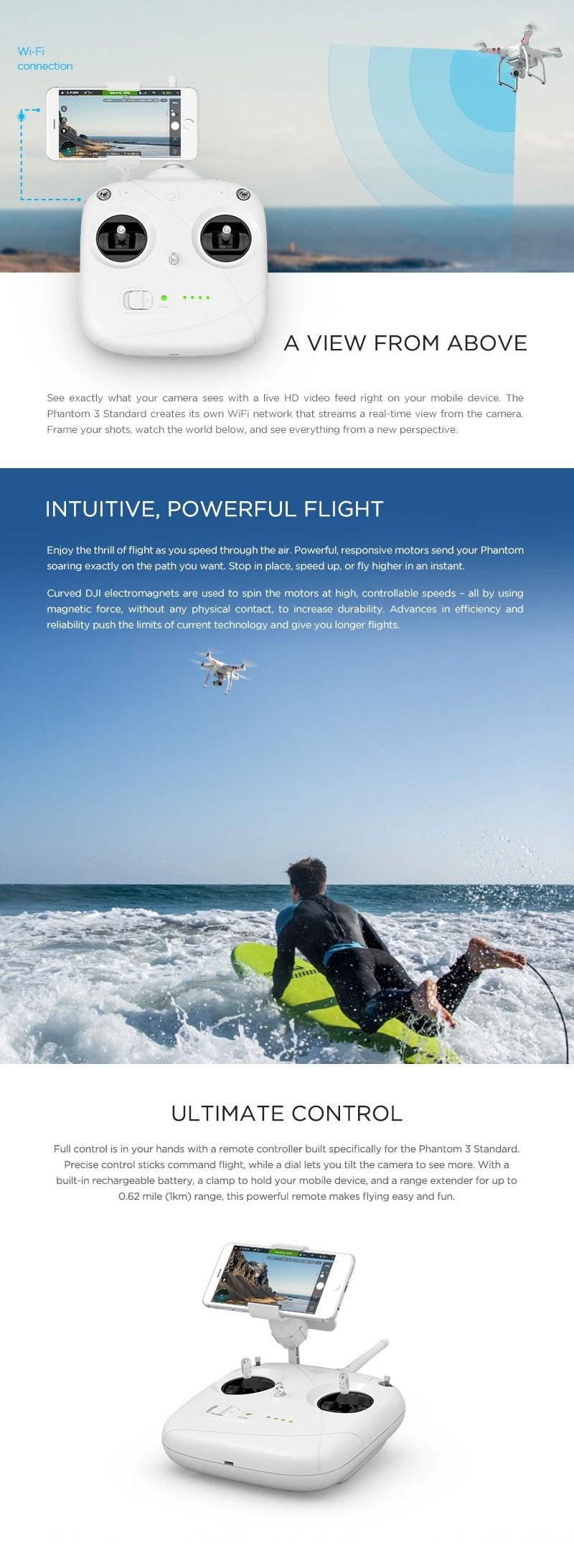 100% Original Dji Phantom 3 Standard Version Quadcopter Drone 3 Axis Gimbal  Drones With Hd Camera Fpv Rc Professional Helicopter - Buy Dji Phantom 3
