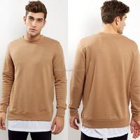 Korean Men Sweater Long Sleeves Crew Neck Tee Tan Split Hem Layered Sweater Latest Sweater Designs For Men