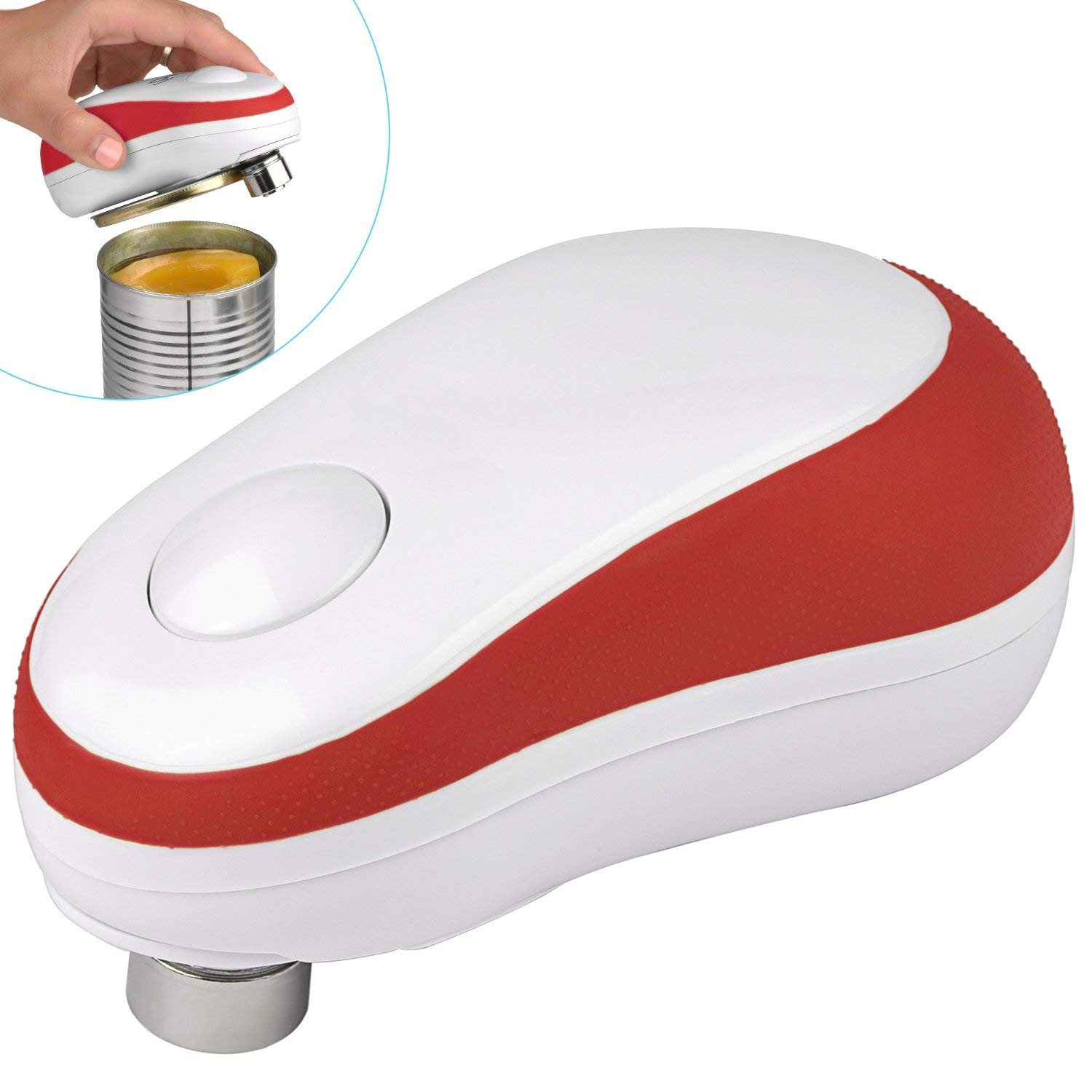 Electric Can Opener, Starew Automatic Can Opener, Restaurant can opener,One Button Start & Auto Stop, Safety Tin Opener with Smooth Edge Left (red)
