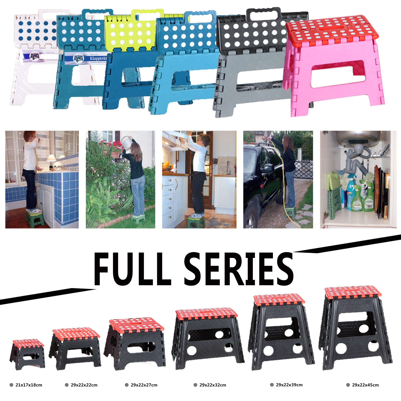 "7"" Plastic Portable Handle EZ Step Folding Stool For Kids"