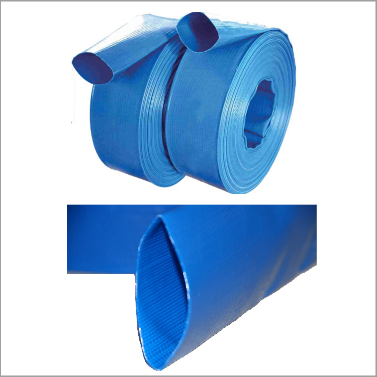 "Blue high quality 6 12"" discharge tpu pvc layflat hose for drip irrigation"