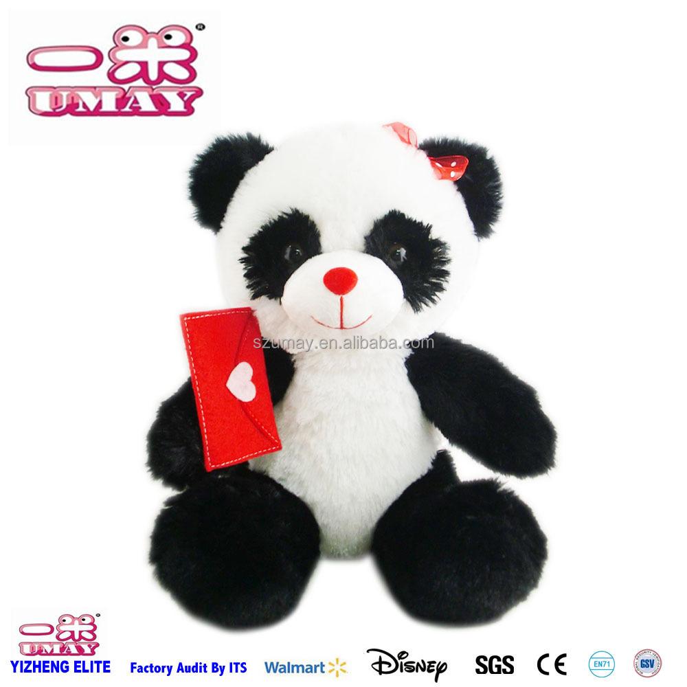 Tùy chỉnh thiết kế mới trắng Panda gấu với trái tim màu đỏ nhồi bông mềm