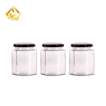 50ml-300ml glass hexagonal jars packaging for bee honey with lug cap