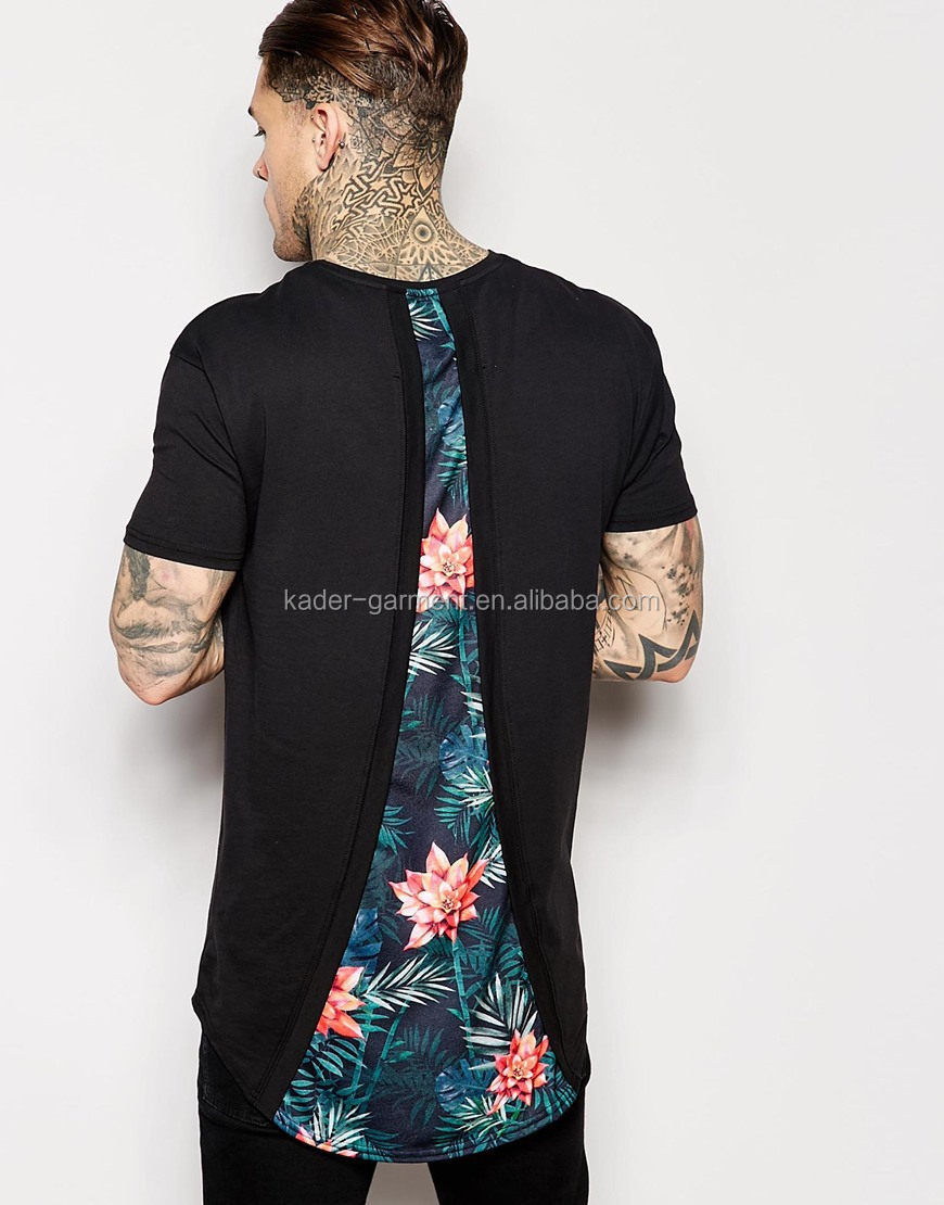 Wholesale curved hem long line t shirt with floral printed for Buy printed t shirts wholesale