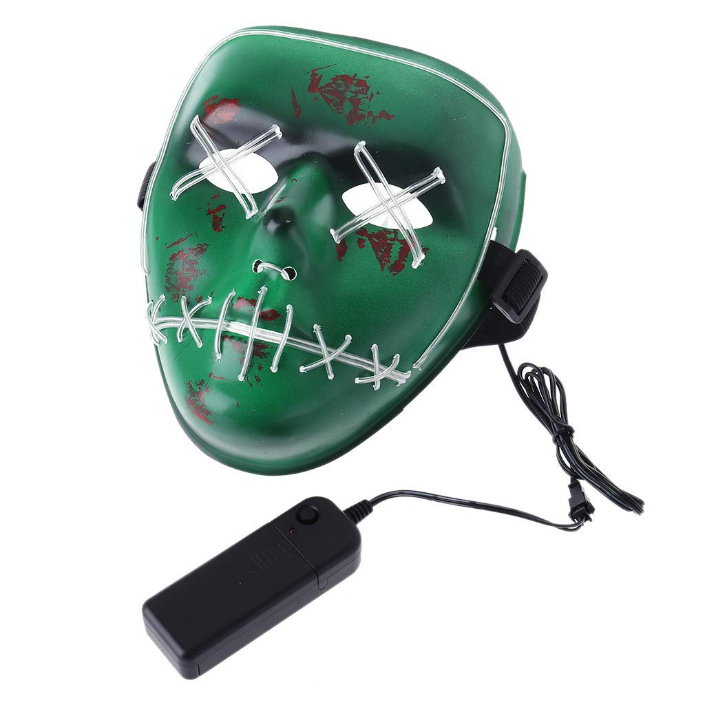 Doiber 1pc Masquerade/Halloween Ghost Slit Mouth Light up Luminescence Mask,LED Bulbs Lamps Mask(Does not Contain Batteries) for Party Prop (Fluorescent Green)