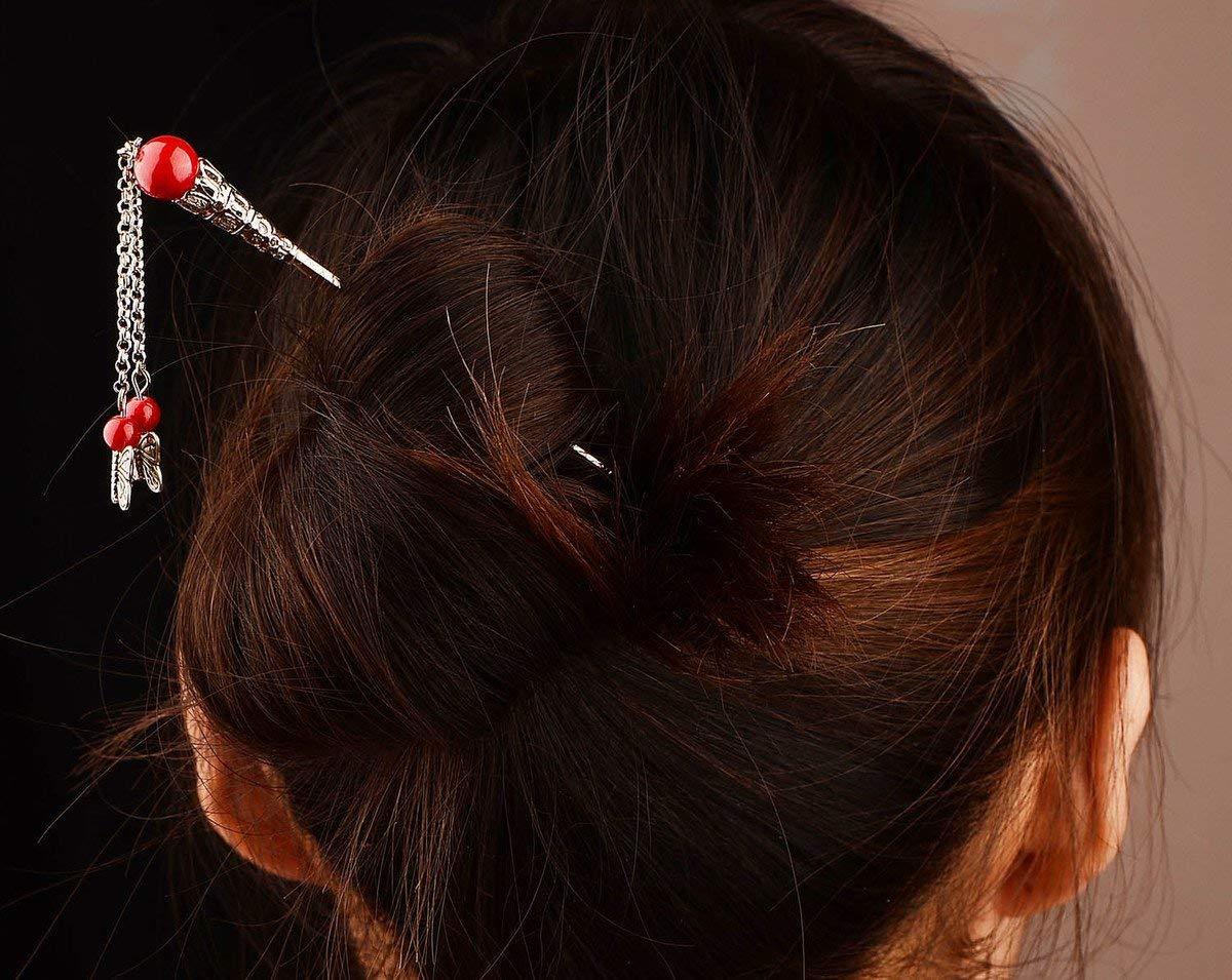 usongs Yunnan national wind Jewelry Tibetan Tibetan silver dish hairpin children tassels retro step shake costume hair hairpin
