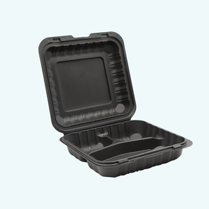"8x8"" Biodegradable 3 compartments Hinged Take Out Food Lunch Containers"