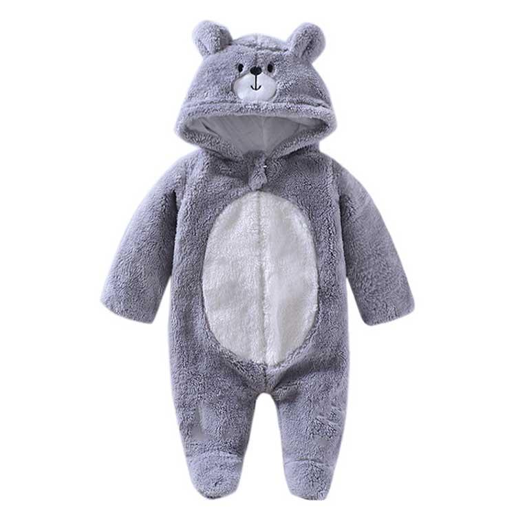 Vestiti appena nati sveglio animale di inverno del bambino con cappuccio della tuta