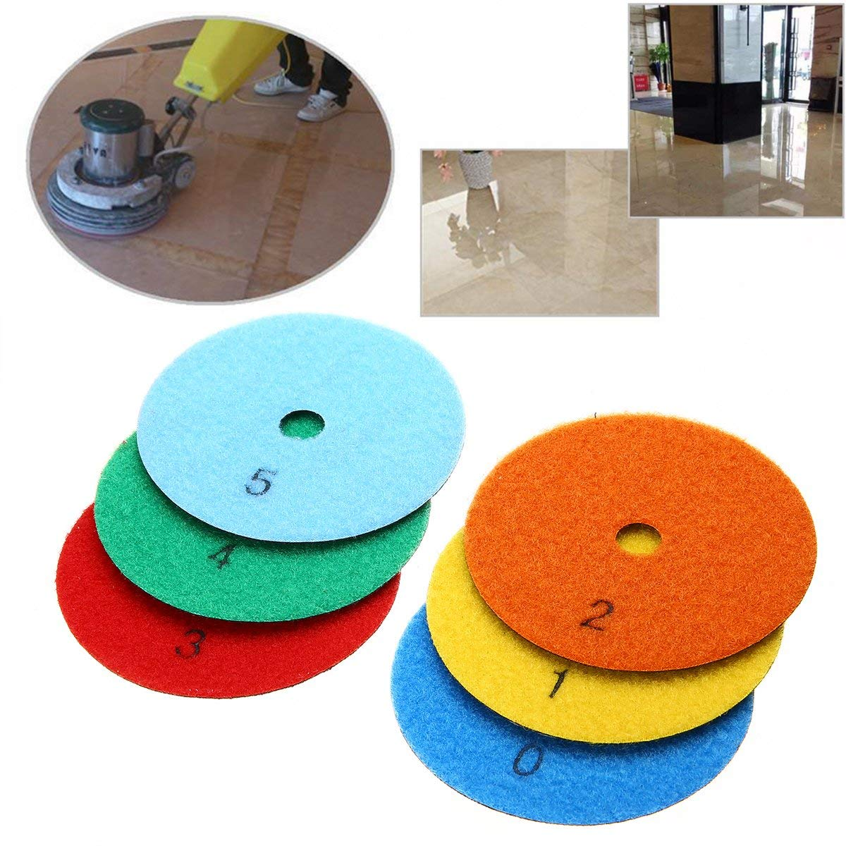 "WILLAI 6pcs 4"" Dry Diamond Polishing Pads Set Kit mayitr Dry Polishiung Pad For Granite Stone Concrete Marble Tools"