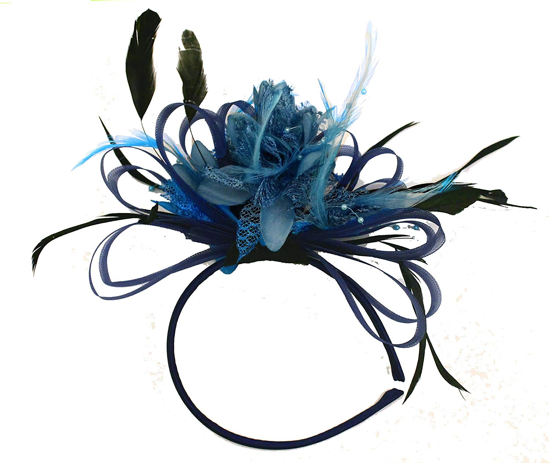07bc0e8417ed1 Get Quotations · Navy and Aqua Blue Net Hoop Feather Hair Fascinator  Headband Wedding Royal Ascot Races