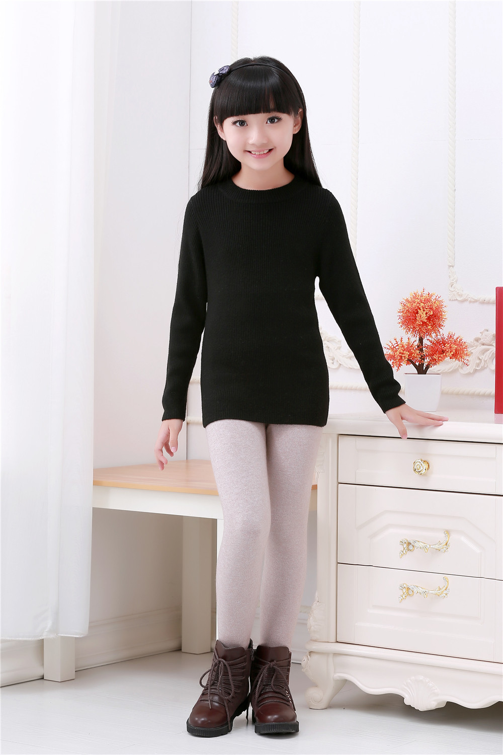 latest design pink knitted cashmere sweaters for girl