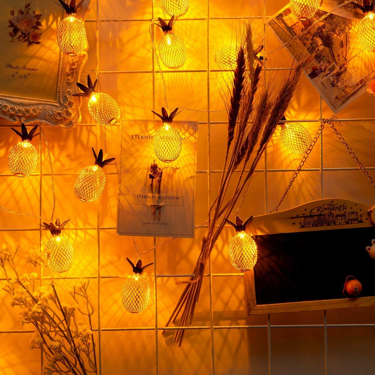 Aszune Pineapple String Lights, 9.8FT/3M 20 LED Bulbs Battery Operated Romantic Fairy Lights for Wedding Garden Festival Party Halloween Christmas Indoor & Outdoor Decoration-Warm White