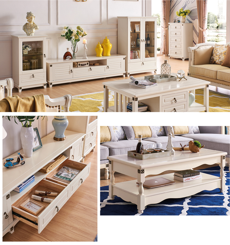European style home furniture cabinet wood living room end table coffee tables