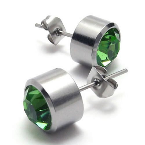 Steel Jewelry Supplier includes the Stainless Steel Cubic Zirconia Unisex Mens Stud Earrings Set, 2pcs, Color  Green