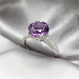 Amethyst Crystal 925 Sterling Silver Purple Amethyst Ring Jewelry For Women Birthday Gift Party Wedding Ring