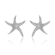 Fashion Womens Clear AUSTRIAN CRYSTALS CZ Star Starfish Pave Ear Stud Earring Silver Earrings
