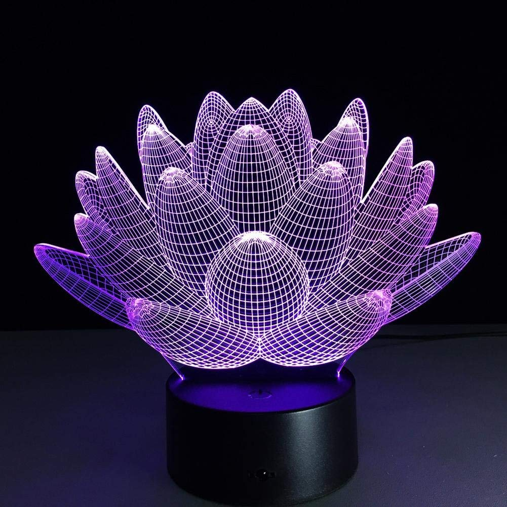 OOFAY LIGHT 3D LED Night Light Lotus Optical Illusion Touch 7 Colour Changing with Acrylic Flat, ABS Plastic Base, USB Charger Table Desk Bedroom Decoration Light