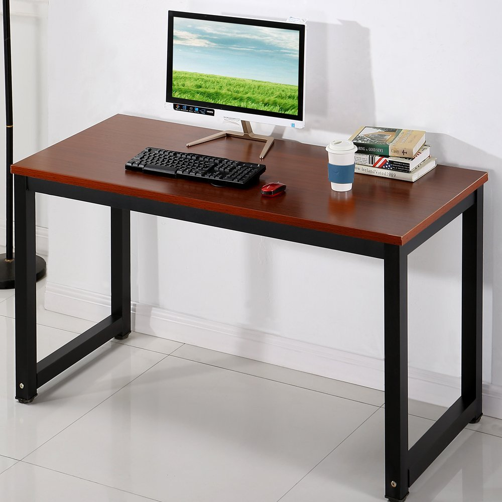 "Computer Desk 55"" Large Morden Office Desk Study Writing Desk for Home Office Meeting Gaming Desk, Teak + Black Leg"