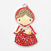 New Design 50*27mm Red Lady Fashion Rhinestone Alloy Charms Pendants for Chunky Necklace