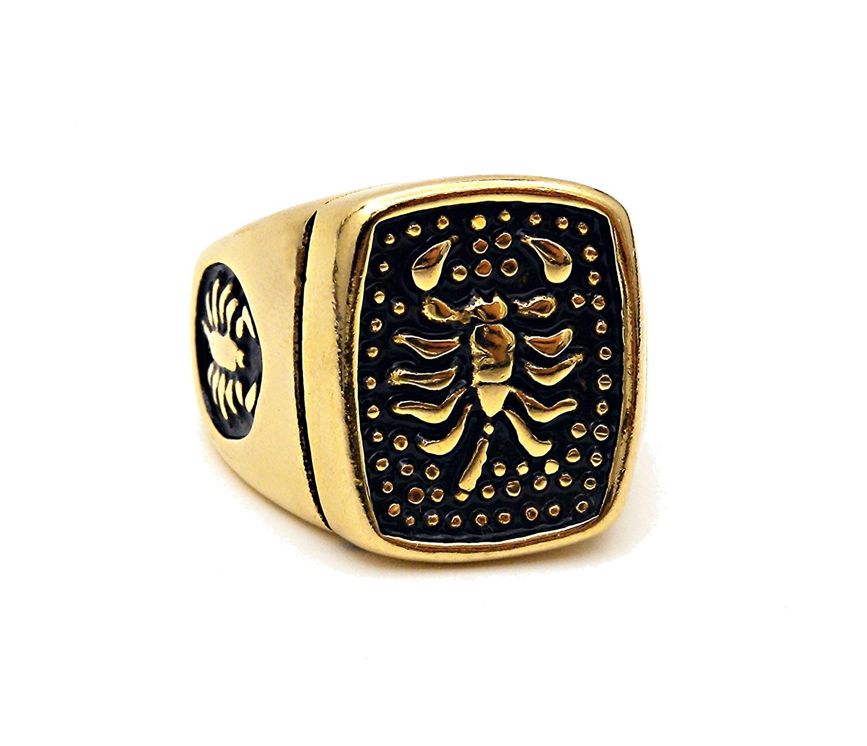 REALBUG Golden Scorpion Black Ring Size 6
