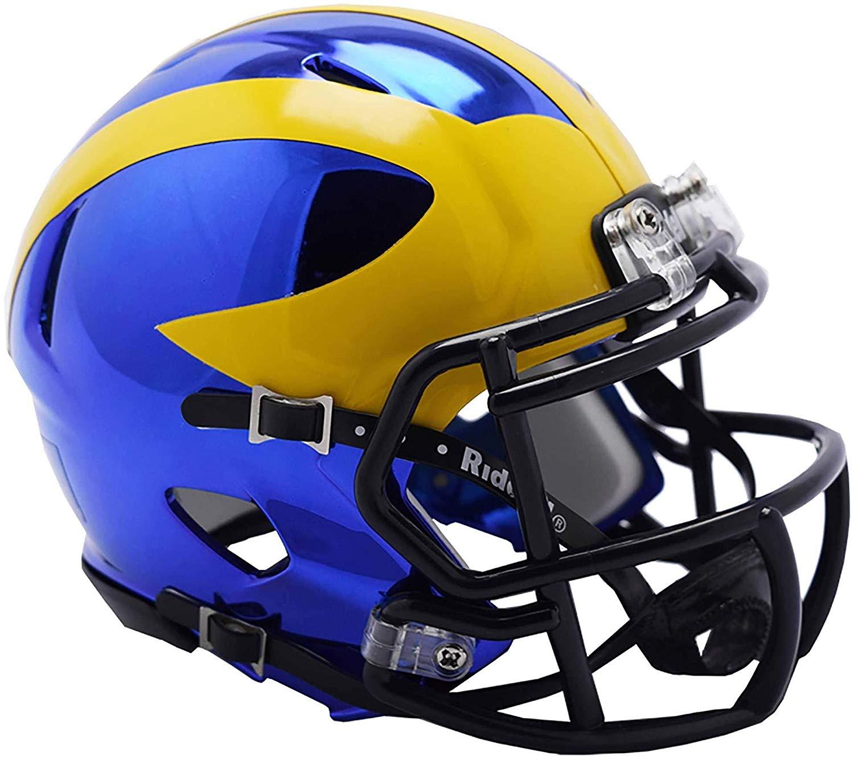 Get Quotations · Sports Memorabilia Riddell Michigan Wolverines Chrome  Alternate Speed Mini Football Helmet - College Mini Helmets af6d5428e