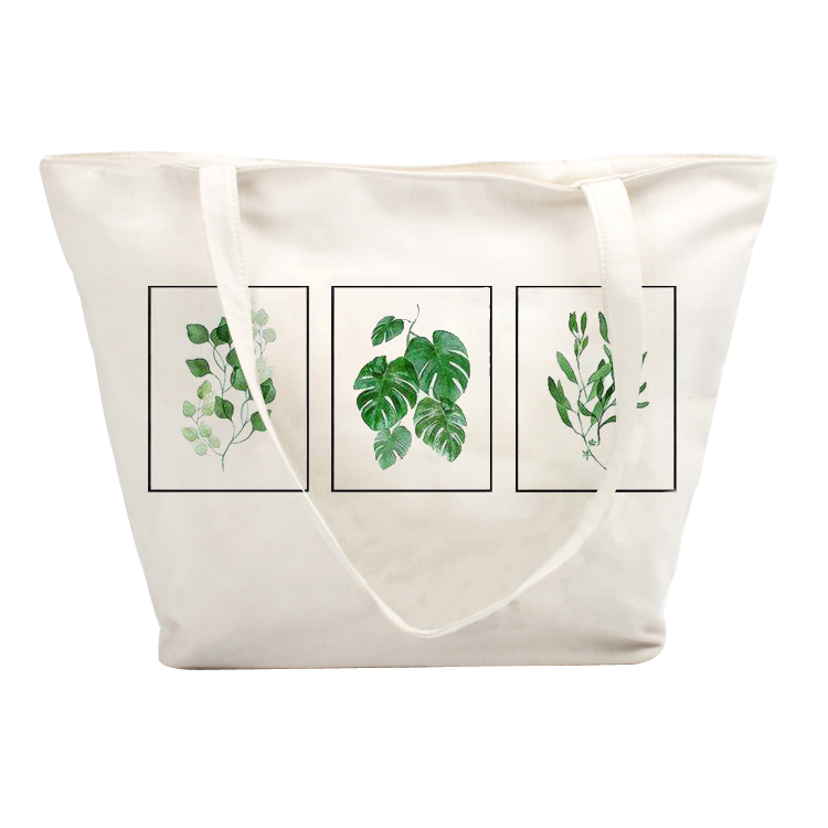 Custom Logo Promotion Zipper Bag Canvas Grocery Shopping Tote Bag Cotton Canvas