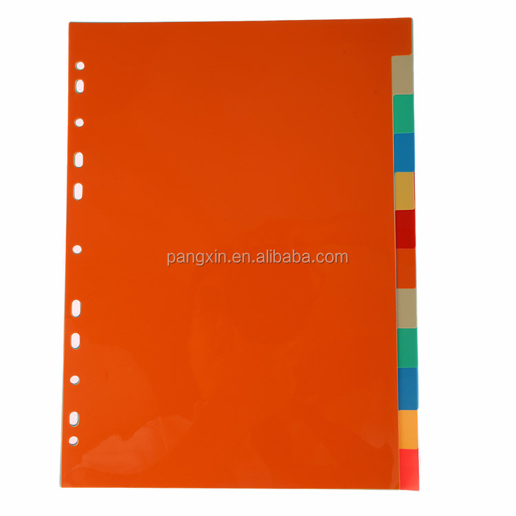 Factory Direct Price Custom Good Quality Colorful 11 hole 10, 12 pages A4 PP Index file Dividers