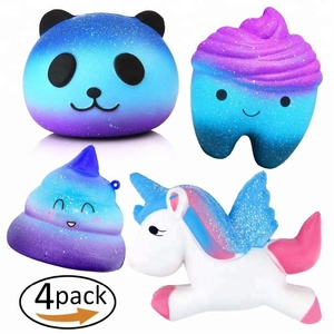 4 Pcs In One Galaxy Starry Jumbo Squishies Pack Including Galaxy Panda,Teeth,Emoji Poo,Unicorn Slow Rising Squeeze Kawaii Scente