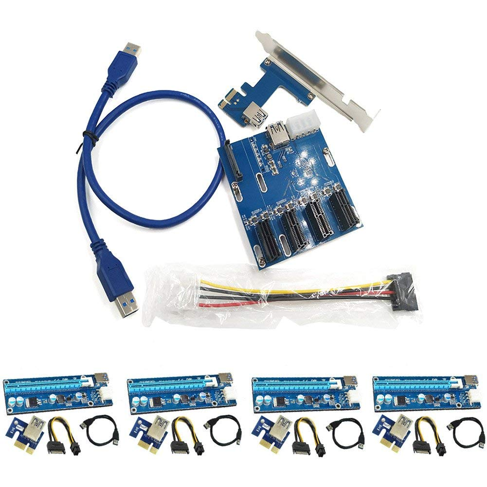 lzndeal 4 Set USB3.0 PCI-E Express 1x to 16x Extender Riser Card Adapter SATA 6Pin Power Cable with 1 Set PCIe 1 to 4 PCI Express