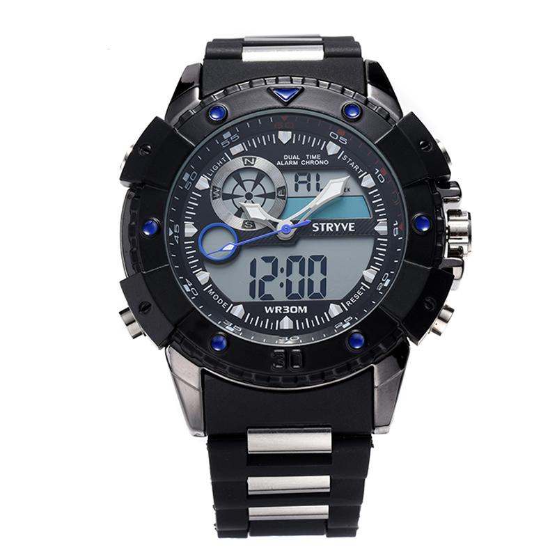 2163fd58a33 Stryve Marca de Luxo Relógios Quartz Dual Time Led Relógio Exército Cabeça  grande 30 M de