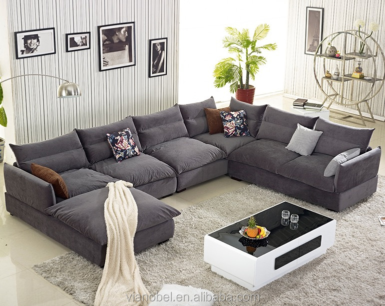 Large Dark Grey Couch Sectional Cloth