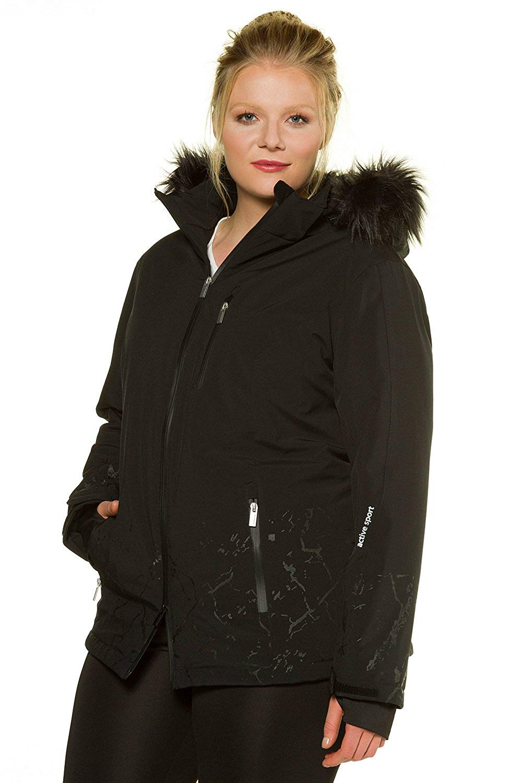 f7e450922c2 Get Quotations · Ulla Popken Women s Plus Size Tonal Print Fur Trim Ski  Jacket 713163