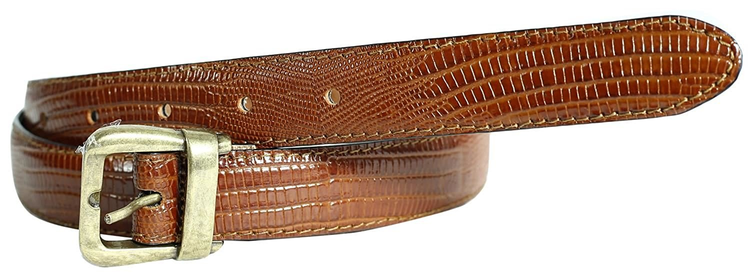 Ladies Oval Silver Buckle Bordo Crocodile Print Contrast Stitched Leather Belts