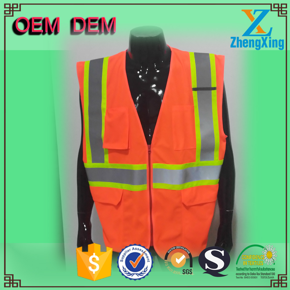 2017 new Design safety vests with pockets fluorescence yellow reflective vest traffic road