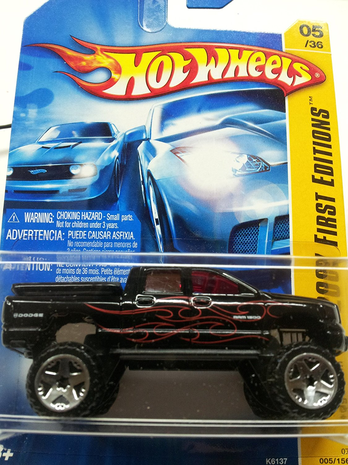 Mattel Hot Wheels 2007 New Models 1:64 Scale Black Dodge Ram 1500 Die Cast Truck #05