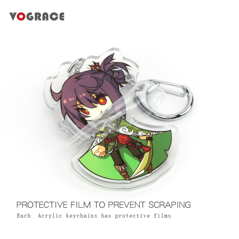 Vograce epóxi claro brilho de corte a laser de alta qualidade por atacado anime em forma personalizada impressão acrílico keychain para o presente da promoção