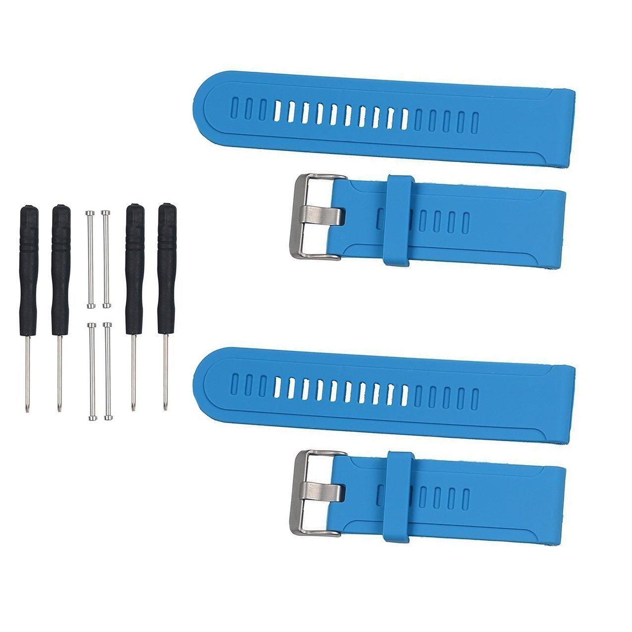 Replacement Bands and Straps for Garmin Fenix 3 HR - 2pcs,Blue+Blue