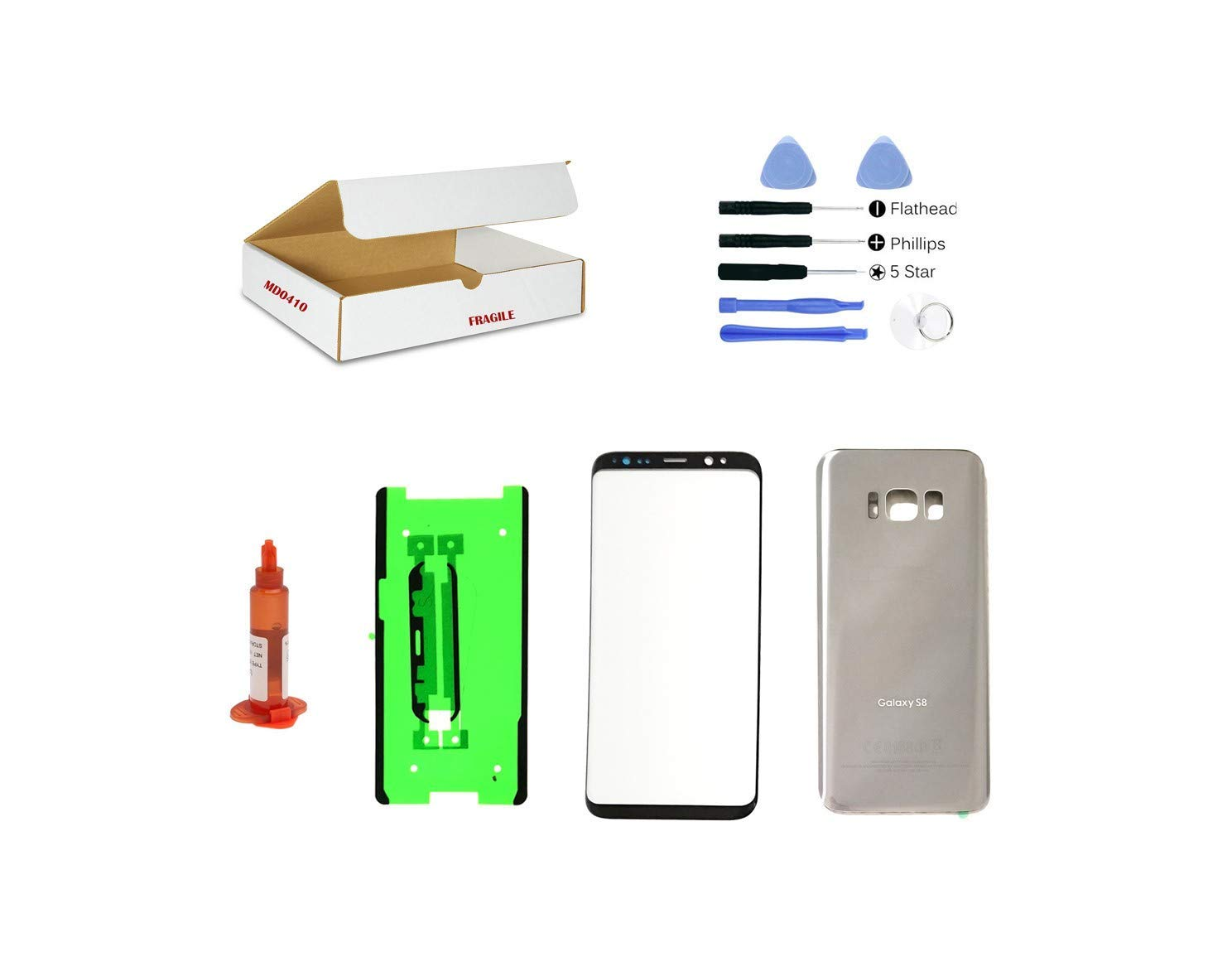 (md0410) Front Outer Glass Lens, Silver Back Cover Replacement Compatible Galaxy S8 G950 + Adhesive + Opening Tool (LCD Screen & Touch Digitizer Not Included)